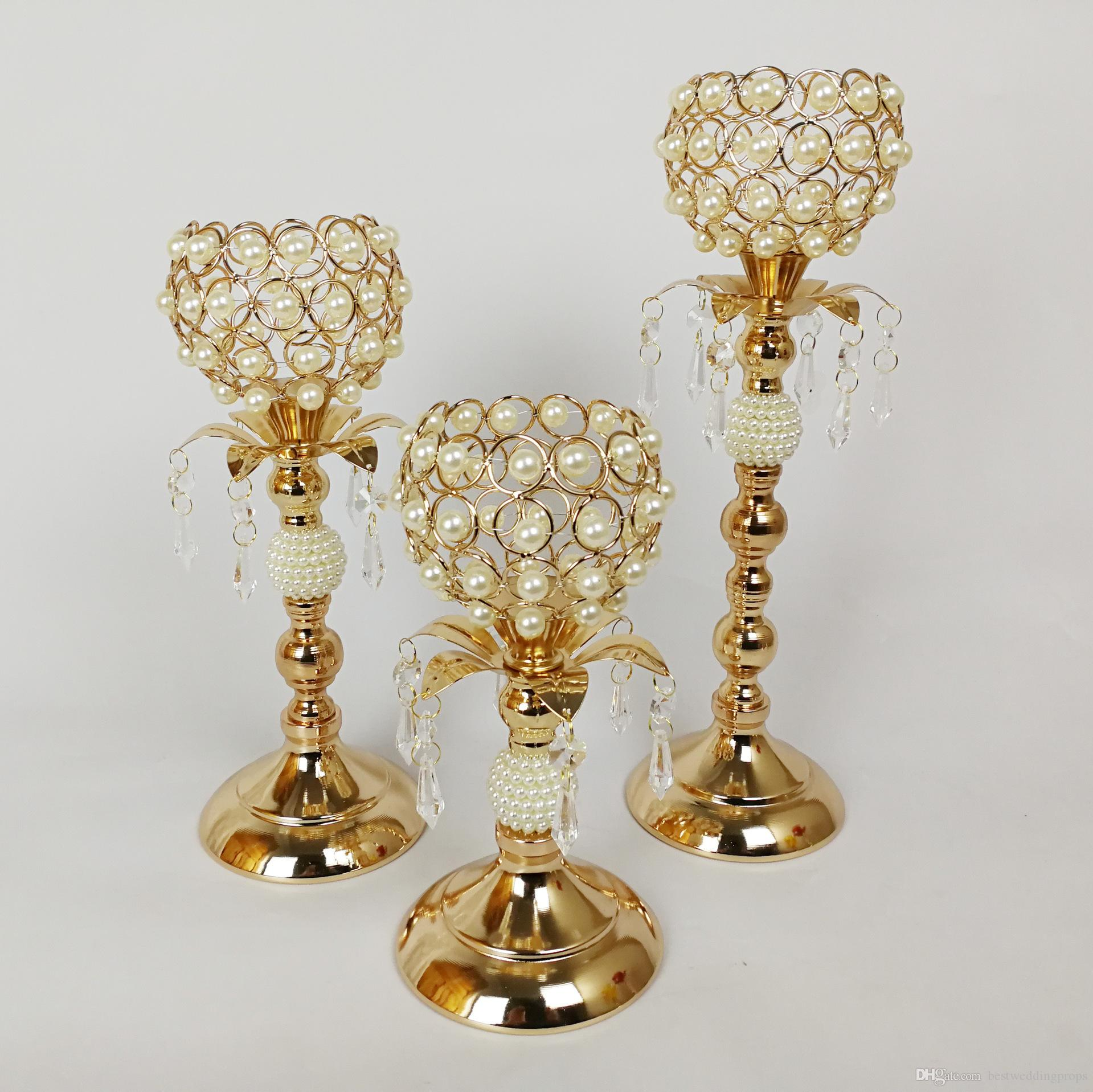 Wholesale tall crystal candlestick glass mental gold taper candle holder set of 3 best768