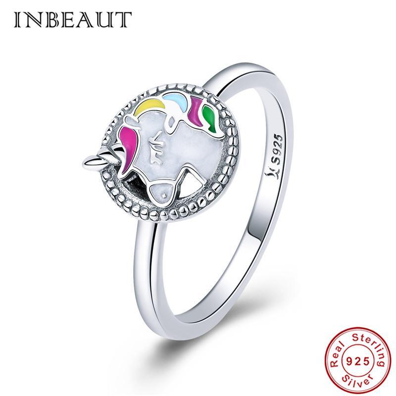 Inbeaut mulheres moda unicórnio anel de prata esterlina 925 esmalte colorido misterioso aninmal memória justa anéis de casamento para feminino