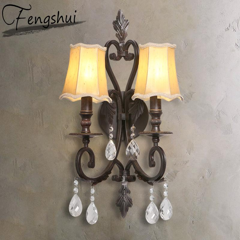 Vintage LED Iron Glass Wall Lamp Indoor Decor Wall Sconce Lamps Aisle Dining Living Room Hotel Bedside Bedroom Light Fxture