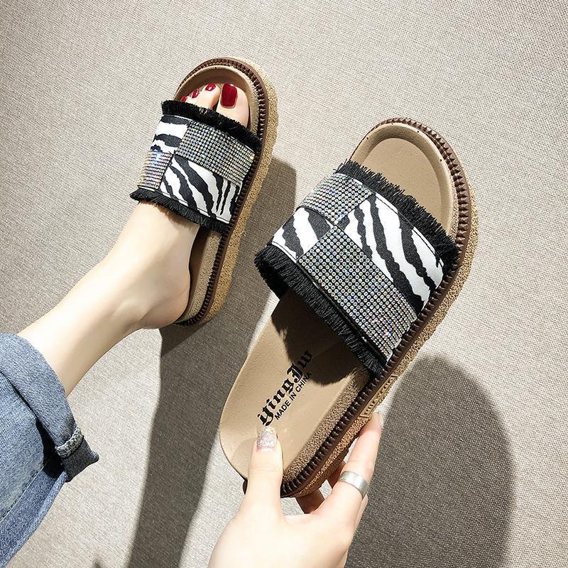 2019 여름 새로운 여성의 플랫폼 샌들 캐주얼 패션 미끄럼 방지 표범 인쇄 간단한 신발