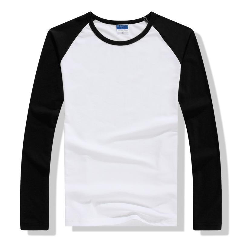 2019 Outono Inverno Camisa de Manga Longa Homens Contraste Cor Rodada Collar Algodão Mens Casual Slim Fit T-Shirts Raglan Tees Tops