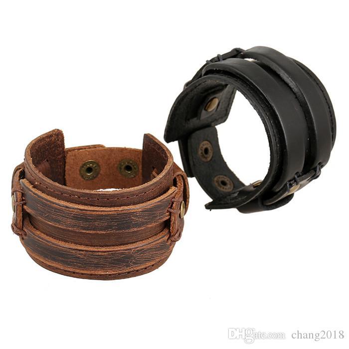 18 styles Punk Rock Johnny Depp Vintage Wide Leather Bangles Men Cool Thick Black Brown Genuine Cowhide Wristband Cuff Bracelets pksp8-10