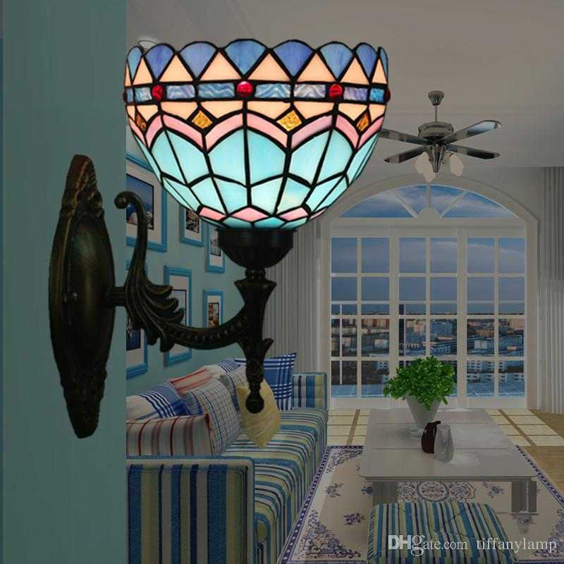 2020 Tiffany Style Blue Glass Mirror Light Led Vintage Wall Lamp Home Indoor Lighting Retro Wall Lights Sconce Bar Stairs Appliques Murale From Tiffanylamp 72 37 Dhgate Com