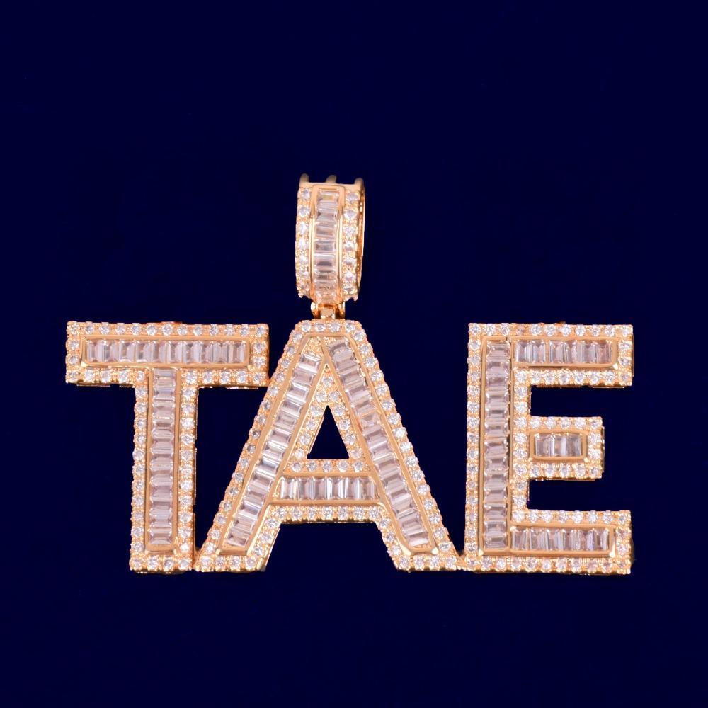 Ladder collana nome dei nuovi uomini di zircone pendente lettera T CZ Pietra Moda Rock Street monili di Hip Hop 20 '' Rope Catena