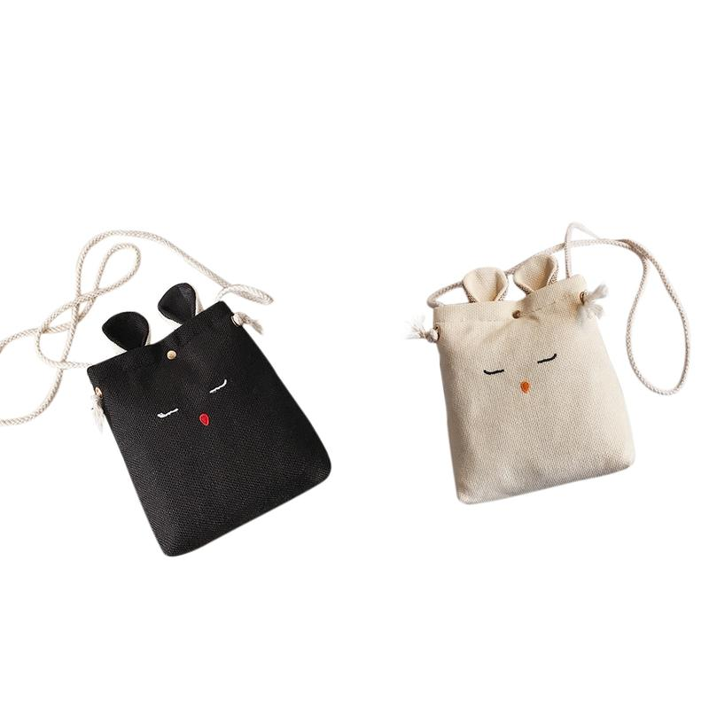 2 PCS Korea Style Lady Ear Cute Women Shoulder Bag Lovely Children One Shoulder Bag , Black & Creamy-White