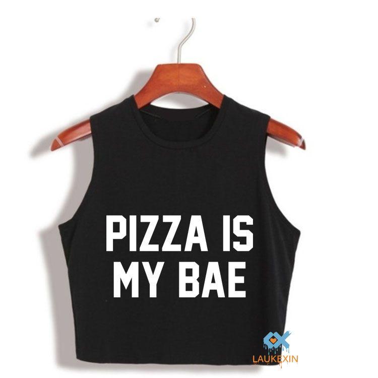 Donna Casual Summer Crop Top Pizza Is My Bae Lettera Stampa Donna senza maniche Canotta Shirt top crop harajuku Stile Nero Bianco Crop