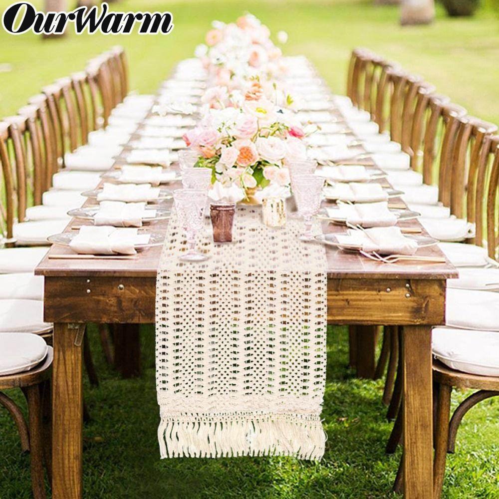 OurWarm évider macramé Chemin de Table Boho mariage Décoration 30x274CM Maroc Nordic style Boho Table Runner avec Glands Y200421