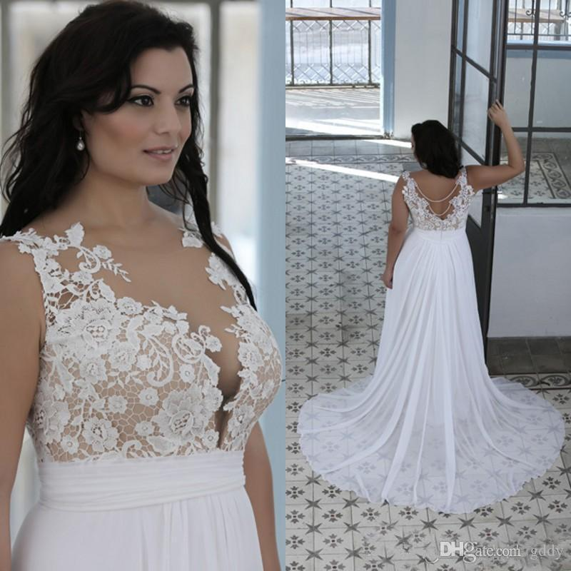 Plus Size Beach Wedding Dresses A Line Sheer Bateau Neck Sweetheart Lace Top Bridal Gowns White Nude Cheap Brides Gowns