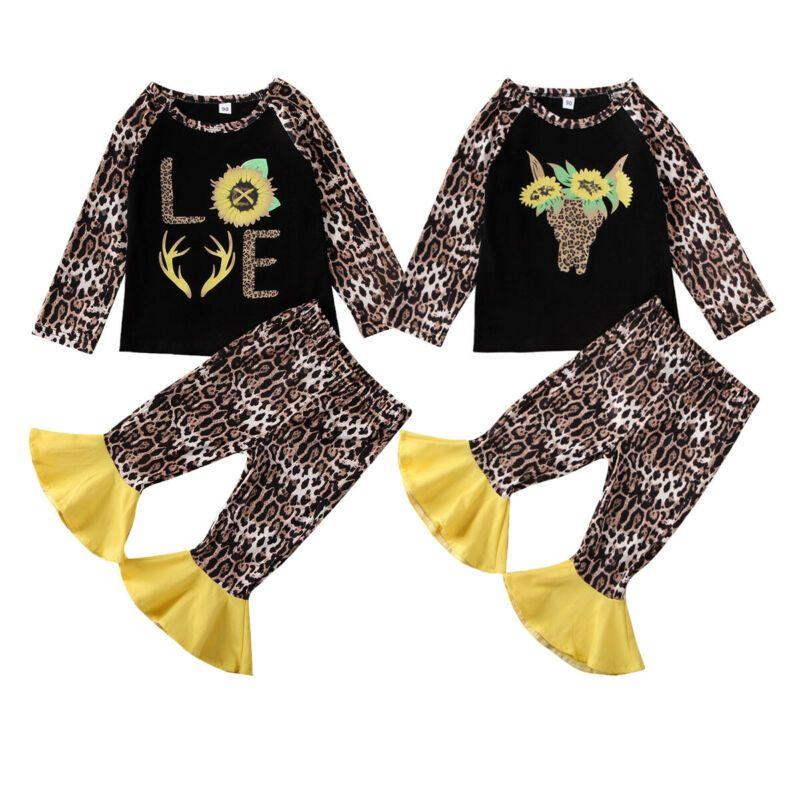 Boutique ropa del cabrito floral 2020 leopardo del bebé del cabrito Tops camiseta de algodón pantalones acampanados ropa del niño 2-7Y