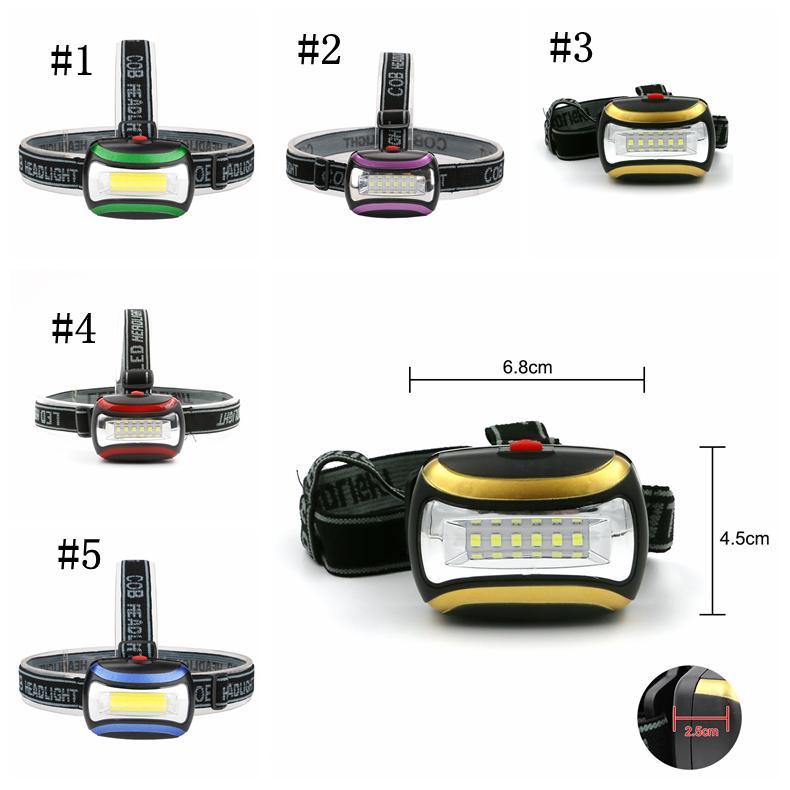 Impermeable 6 LED Mini COB Faros 3 modos Pesca Al aire libre Camping Riding Light Gire el faro ZZA245