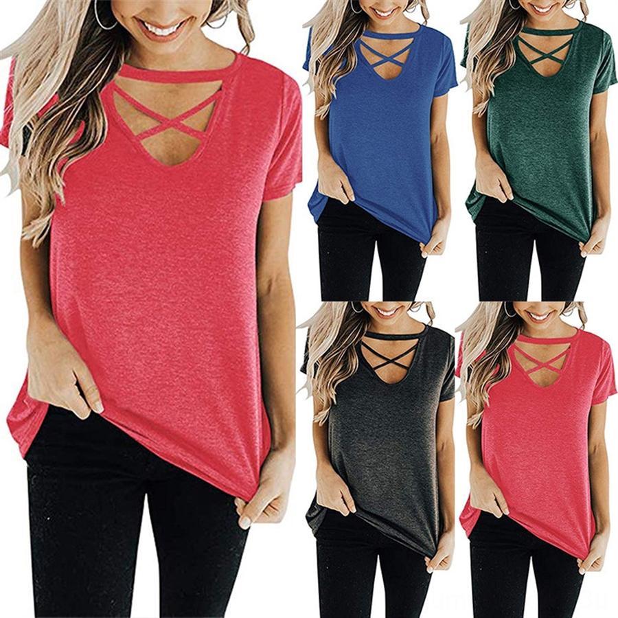 2019 women's front chest cross V-neck short sleeve loose top 2019 women's front chest cross V-neck short sleeve loose T-shirt T-shirt top to