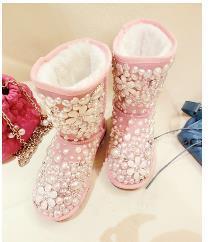 Sıcak Satış-Yeni inLourie tozu! tatlı aşk inci el yapımı elmas taklidi mücevher çiçek hakiki deri diz boyu kar botları yay