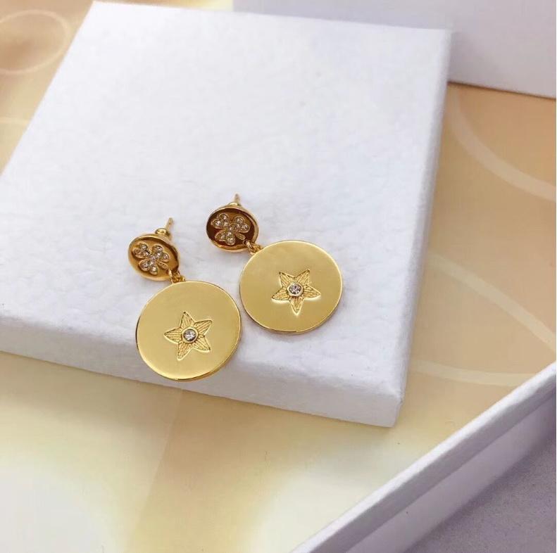 Новый роскошный золотой круг цветы резьба кулон серьги женская мода благородные Свадебные серьги ретро элегантный стиль