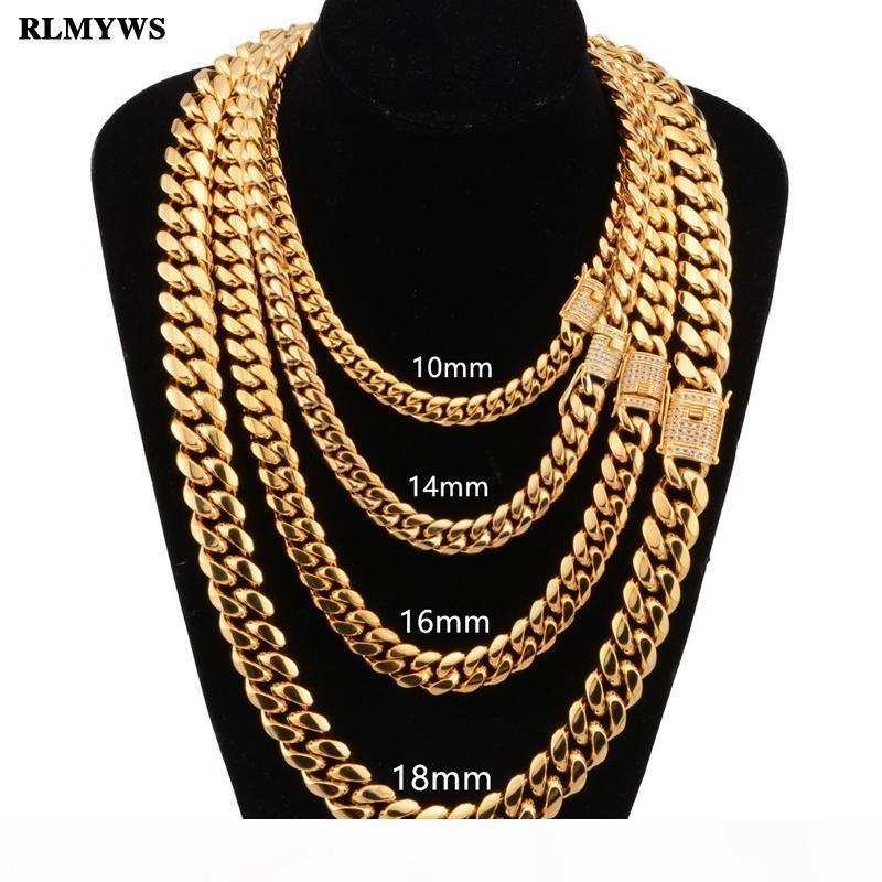 Hommes Hip hop mode collier de chaîne en acier inoxydable 8-18mm largeur 18-30inch long collier Chaînes cubains Miami bijoux Homme Hiphop
