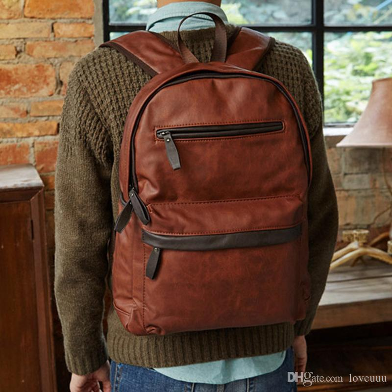 alta calidad de la moda mochila bolso de cuero del diseñador bolsa de viaje portátil cuaderno escolar mochila adolescentes varones