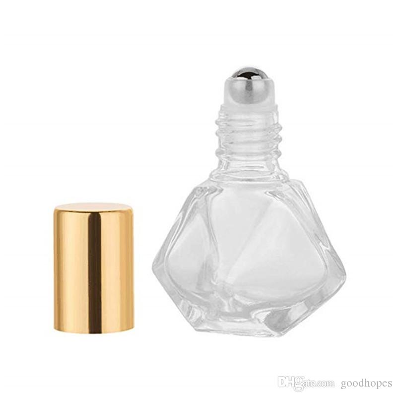 8ml Mini Portable Polygonal Clear Glass Roller Bottle Travel Essential Oil Roll On Bottle with Stainless Steel Ball
