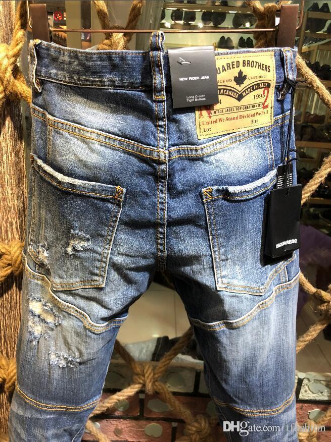 Acheter Nouveau ⠀ Dsquared2 Dsquared Dsq ⠀ Hole Pierre Rock Biker Jeans  Hommes Déchiré Denim Déchirant Pantalon Noir Hommes Jeans Pantalon Froncé  A207 De ... 542e43c35caa