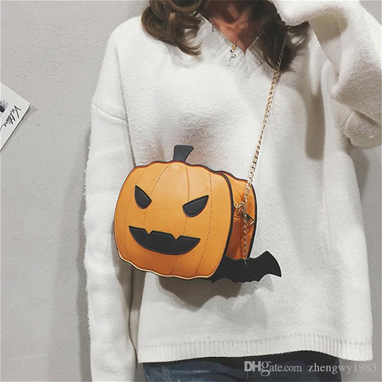 Chica de Halloween bandolera 2 colores de calabaza bolsa de mensajero del demonio bolsa formada diseñador monedero regalo de la muchacha ocasional de Crossbody de la historieta Bolsas ZJY768