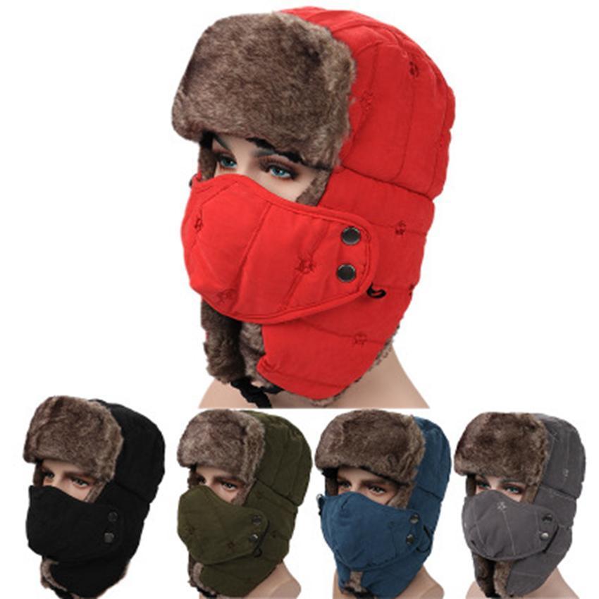 Winter Trapper Hüte mit Ohrenklappen Aviator russischen Hut Winter im Freien warmen Hut Skifahren Sport Winddichtes Kappe ZZA899