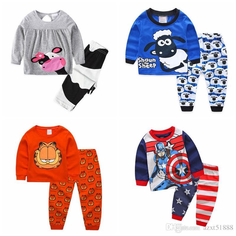 Розничная дети осень пижамы комплект одежды мальчики девочки мультфильм пижамы костюм набор дети с длинными рукавами + брюки 2-х частей детская одежда