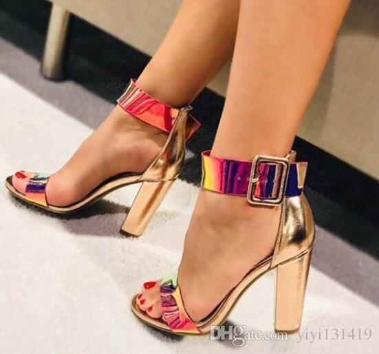 2019 explosion new style women's shoes thick with high heel sandals