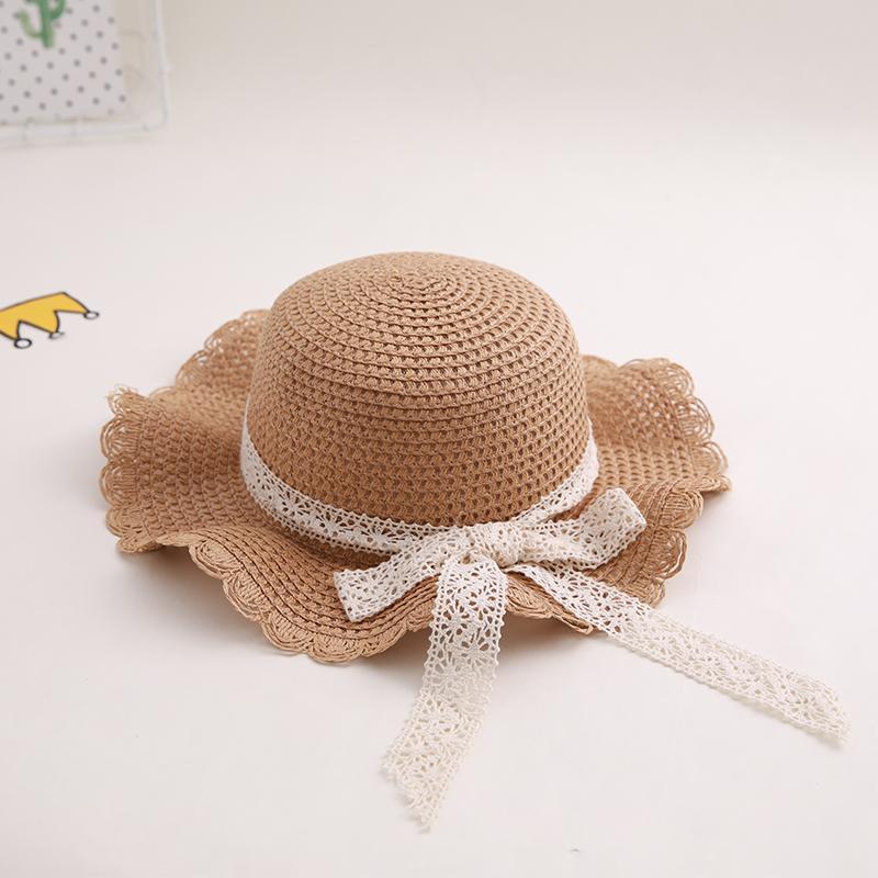 sombrero muchachas de los niños del sombrero de paja pequeño recorrido sol chica protector solar fresca de verano