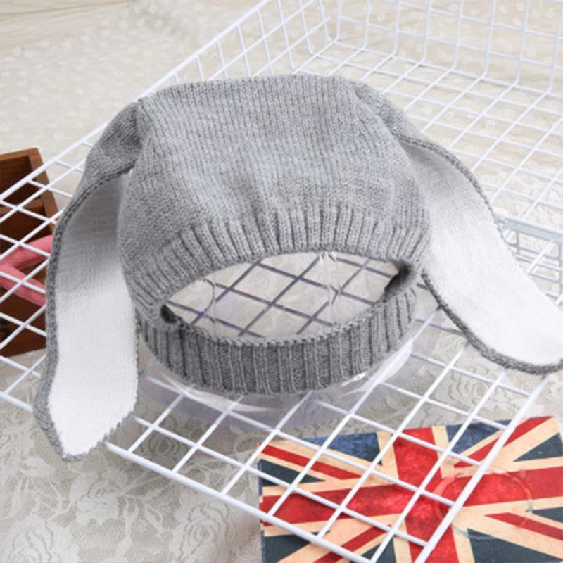 Sevimli Bebek Kış Şapka Tavşan Kulak Tavşan Kapaklar Bebek Kız Şapka Yenidoğan Sahne Bonnet Enfant Sıcak Kız Örme