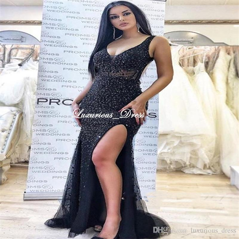 Brilliant Mermaid Straps Side-Slit Beading Prom Dresses Sexy Black Crystal/Beading Formal Evening Dresses Arabian Special Occasion Dresses