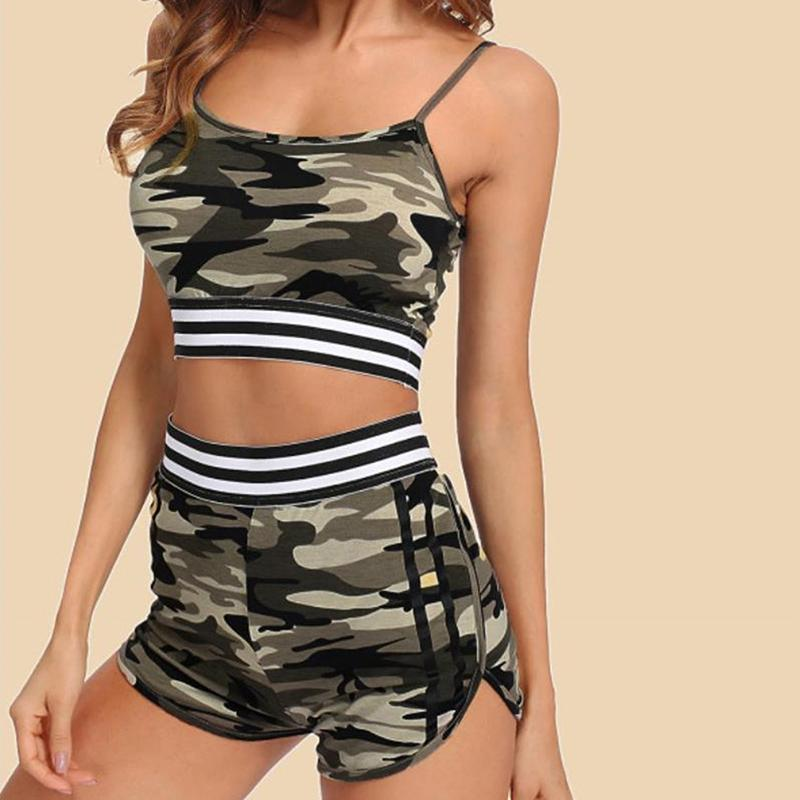 2020 Summer Camouflage Set for Women Sexy Crop Tops and Fitness Shorts Sleeveless Two Piece Set Ladies 2pcs Bodycon Sets