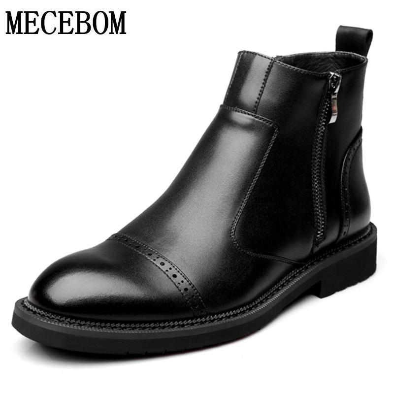 Genuine sapatos de couro dos homens novos do outono Preto Tornozelo Botas para Male Shoes Casual Botas zapatos tamanho hombre 38-44 8016m