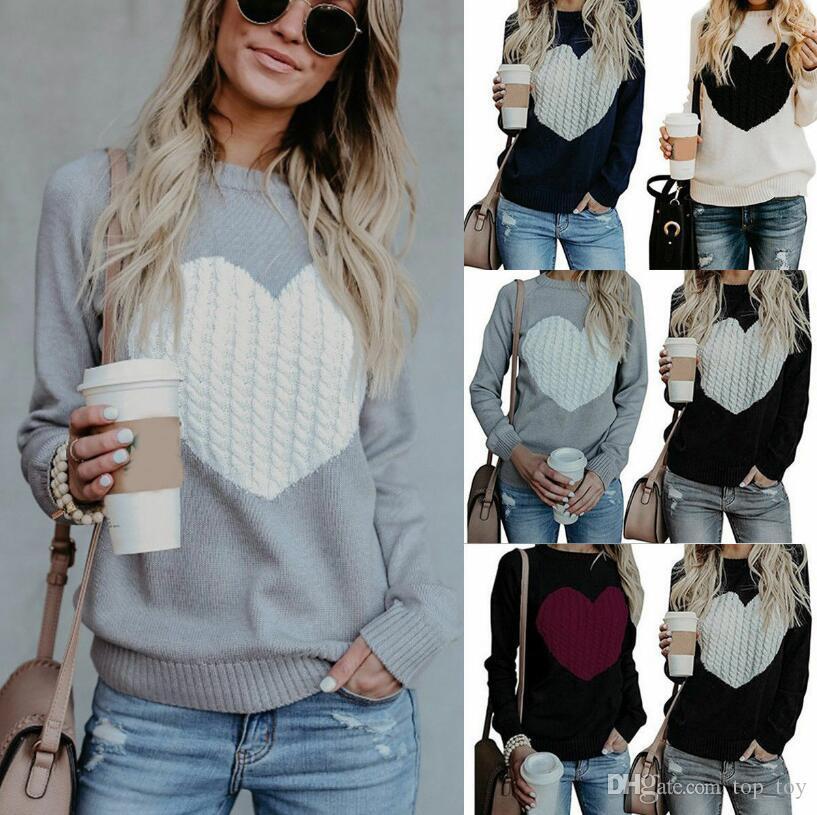 Maglione lavorato a maglia a cuore manica lunga con scollo a cuore manica lunga O Pullover donna Pullover LJJO6263