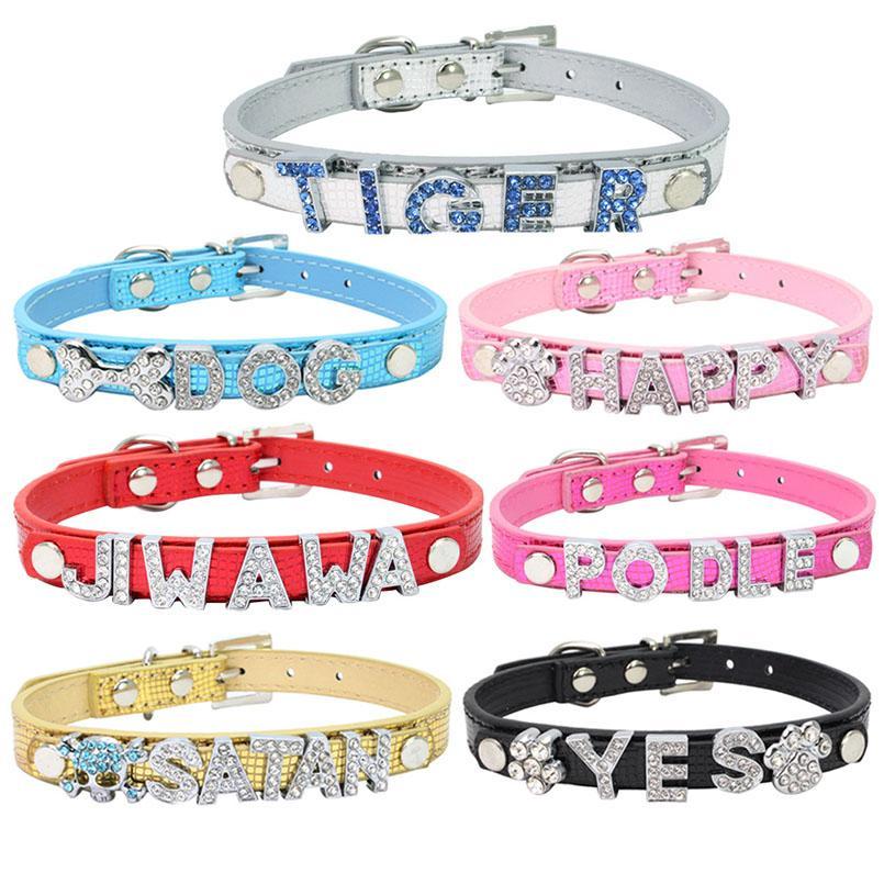 Leder Bling Personalisierte Hundehalsband kann mit Strass Schnalle DIY Letter Name Pet Welpen-Katze-Halsbänder für Haustiere hergestellt werden Supplies Neu