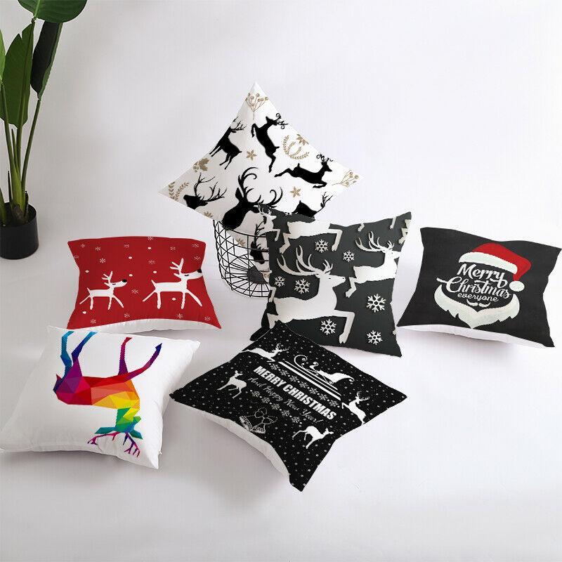 18 رمي × 18 بوصة عيد ميلاد سعيد عيد الميلاد القطن الكتان تصميم غطاء وسادة وسادة حالة ديكور حفلات هدية