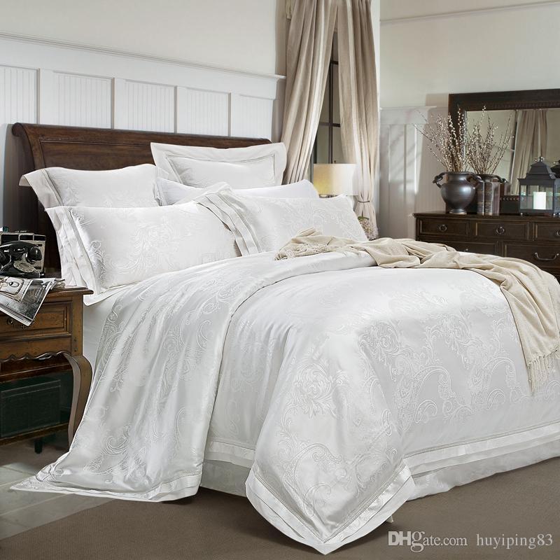 Branco Jacquard Cetim Casamento Conjunto de Cama Rei Rainha 4/6 pcs Luxury Quilt / Tampa de edredão Cama cama de linho de cama de algodão