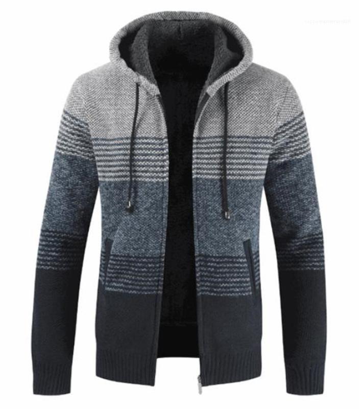 Hırka Erkek Tasarımcı Kazak Kış Çizgili Baskı Uzun Kol Kapşonlu Erkek Palto Kontrast Renk Erkek Giyim Kalın