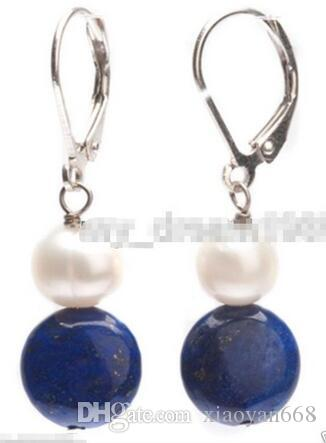 lovers women good Hot sale new Style >>>>Genuine White Pearl Natural Blue lapis lazuli 925 silver Leverback Earrings