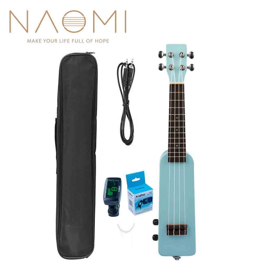 """NAOMI 21 """"Okoume Electric Ukulele Ukelele Uke Kit + Accordatore W / Gig Bag 3,5 mm Cavo audio Ukulele elettrico silenzioso Uke-Blue"""