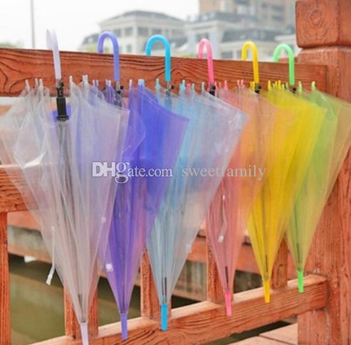 New favor do casamento colorido Handle Limpar PVC Umbrella longa chuva sombrinha ver através do guarda-chuva