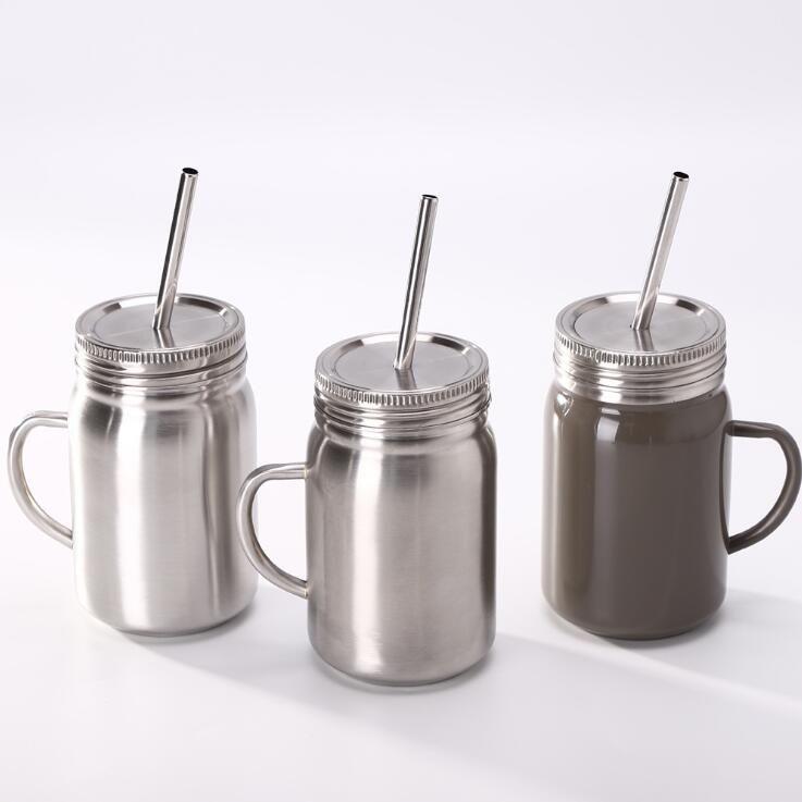 Copa del tarro de acero inoxidable paja pared sola taza de 700 ml con tapa de acero inoxidable de café jugo de la cerveza taza de albañil Latas LXL387