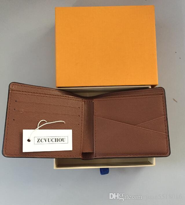 frete grátis Mens Wallet 2019 couro dos homens com Carteiras For Men Bolsa Carteira Men Carteira com saco de poeira Orange Box