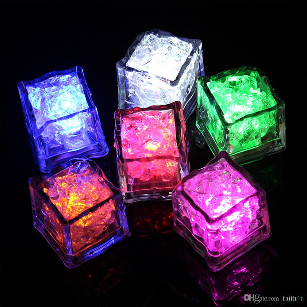 LED кубики льда огни Aoto цвета мини романтический светящийся кубик LED искусственный кубик льда проблесковый свет свадьба рождественская вечеринка украшения лампы