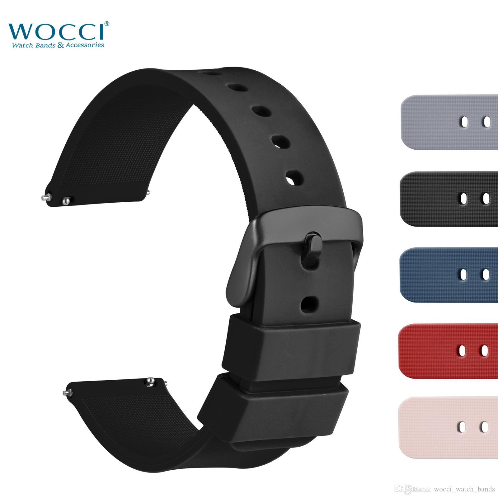 WOCCI Silicone Waterprool Bande de sport résistant à la sueur Bracelet à détachement rapide Bracelet en 5 couleurs 14mm 18mm 20mm 22mm