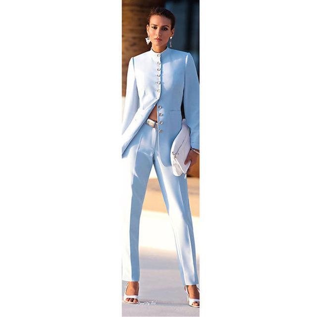 A medida para mujer ligero trajes azul Negocios Oficina Mujer uniformes trajes formales del pantalón para bodas damas traje pantalón chaqueta + pantalones