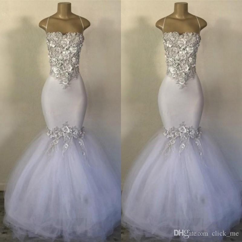 Весна Лето Белое Русалка Свадебные платья с 3D аппликациями Атласное и тюль свадебное платье на молнии Назад Индивидуальные дешевые свадебные платья
