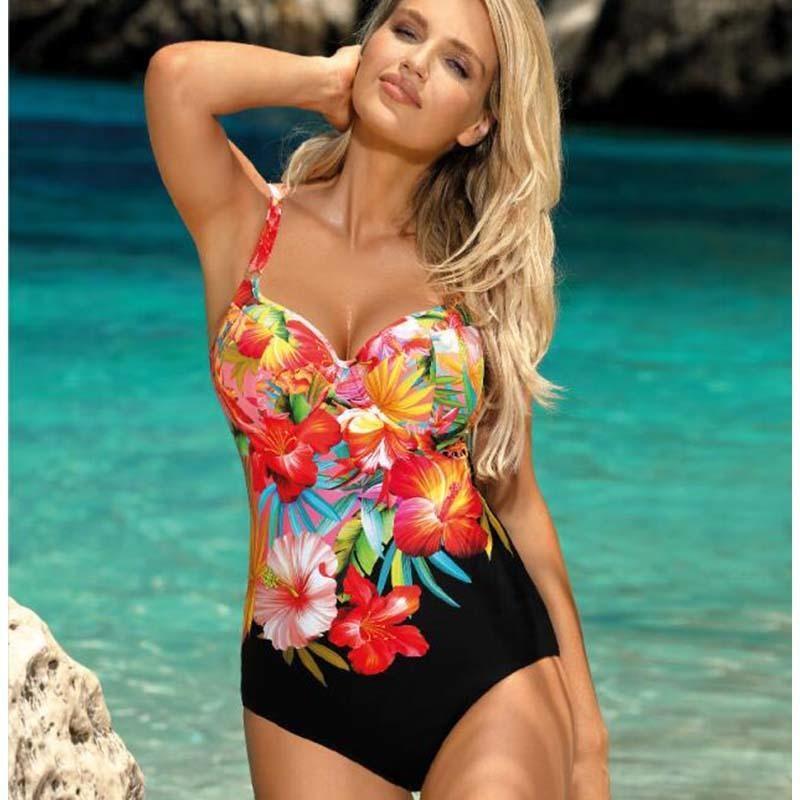 Impresión floral de una pieza Trajes de baño grande empuje cerrado encima de la hembra más el tamaño de traje de baño de piscina Beach 2019 Cuerpo traje de baño atractivo de las mujeres XXL