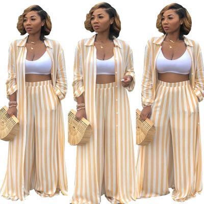 여성 패션 스트라이프 캐주얼 두 조각은 긴 소매 블라우스 탄성 허리 통바지 운동복 팜므 2 조각 의상을 설정합니다