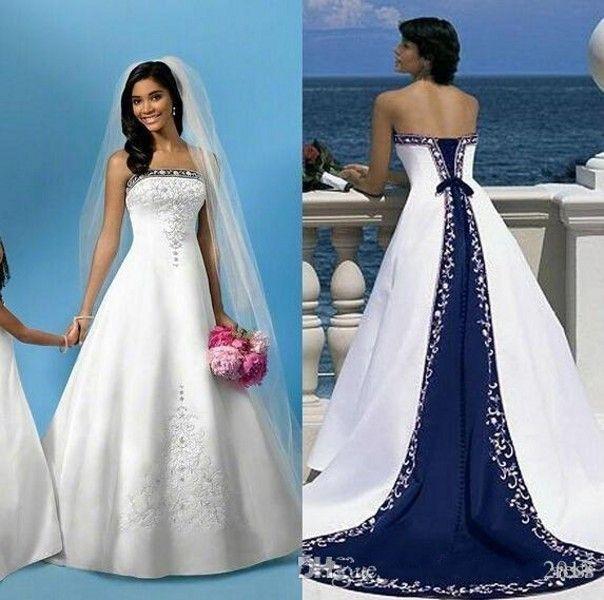 Zarif Beyaz ve Mavi Gelinlik A Hattı Kraliyet Bandaj Kadınlar Nakış Saten Vintage Plaj Gelin Kıyafeti Mahkemesi Tren Gelinlikler