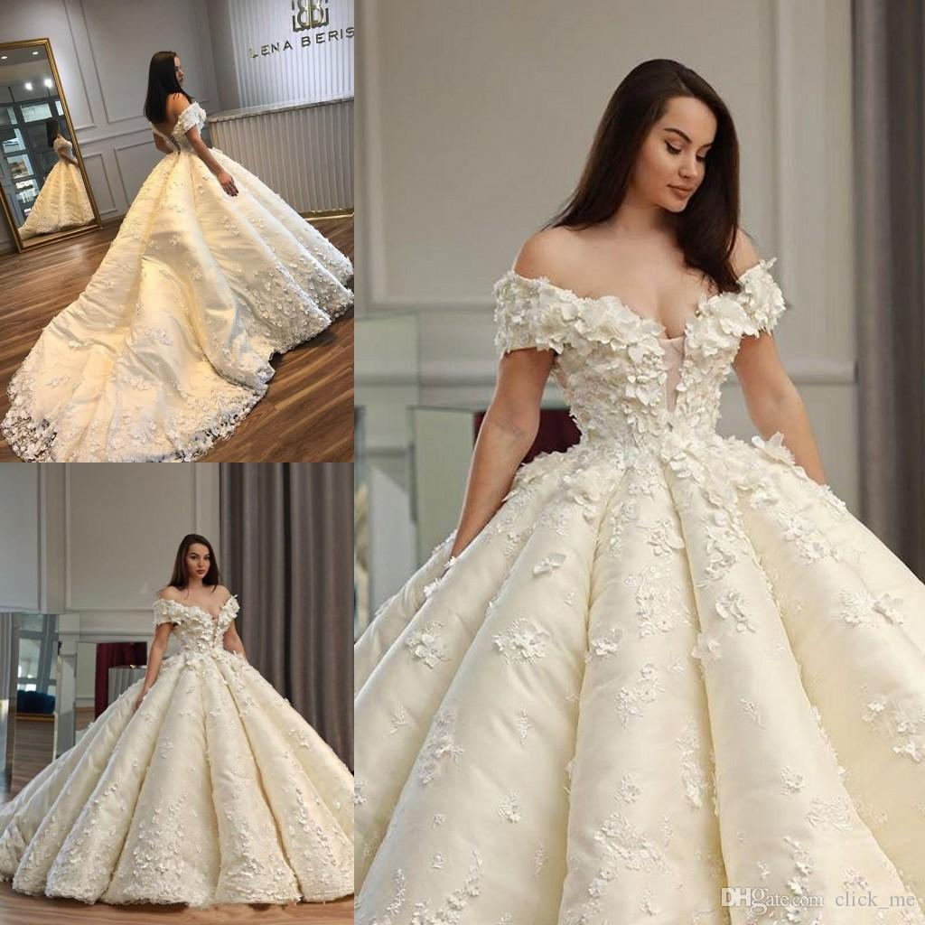 Discount Gorgeous Ball Gown Wedding Dresses Sexy Off The Shoulder Appliques Lace Plus Size Wedding Dress Count Train Lace Up Back Bridal Gowns Cheap Gowns Cheap Lace Wedding Dresses From Click Me 335 55