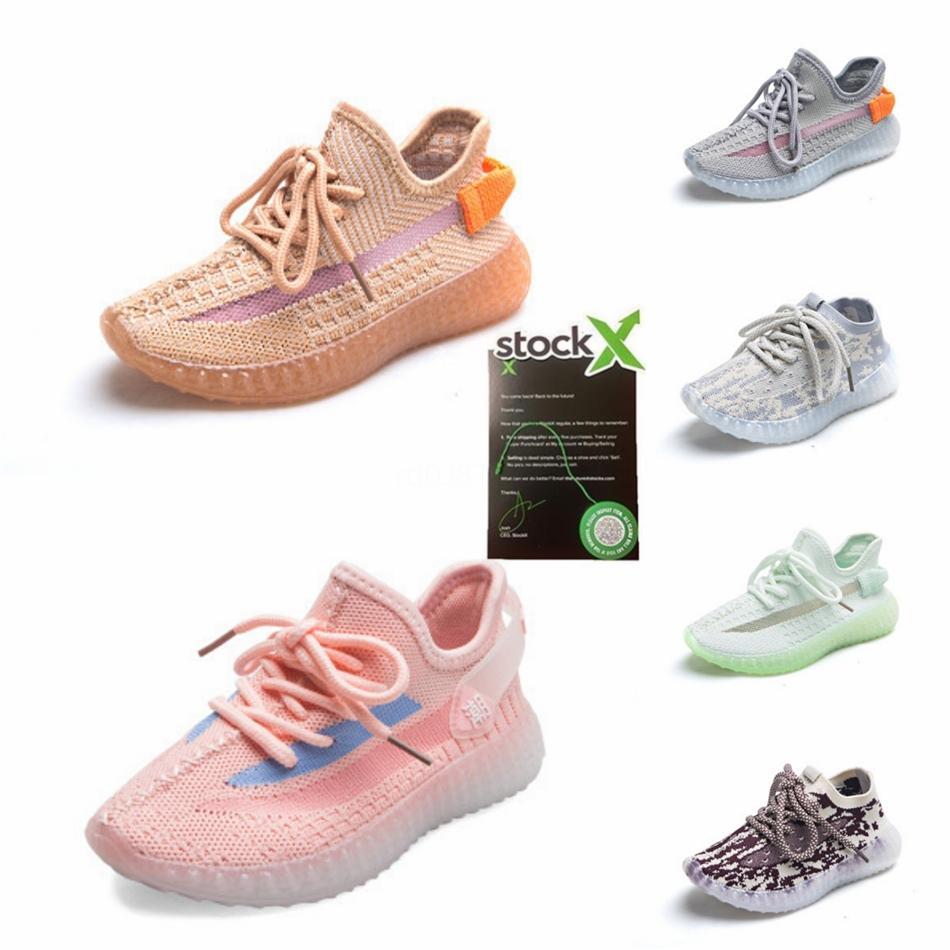35 0 Kids Original Brand Kanye West Air 35 Laufschuhe athletischer Sport-Schuh-Turnschuhe Zebra Sesame Größe 28-35 # 744
