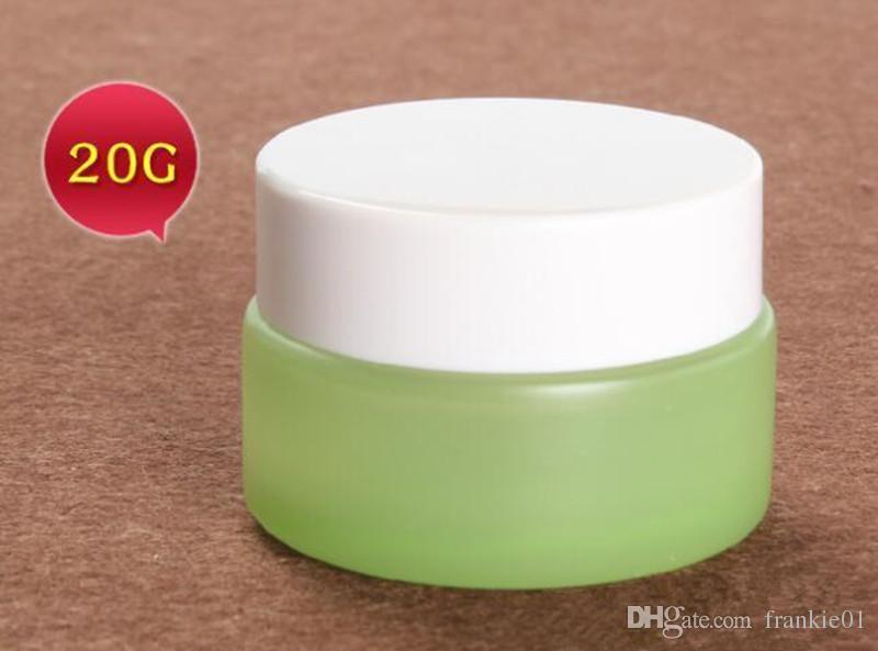 Cigarrillo electrónico Vape 20 ml 30 ml 50 ml envase de crema cosmético azul verde vidrio tarro de almacenamiento con tapa blanca 20 g 30 g 50 g